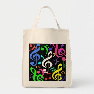Bolso colorido de las notas musicales bolsa