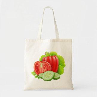 Bolso con las verduras frescas bolsa tela barata