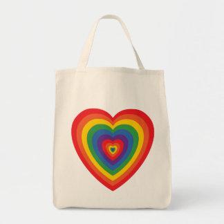 bolso (concéntrico) del corazón del arco iris de bolsa tela para la compra
