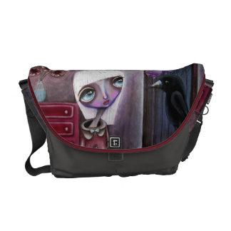 Bolso contemporáneo del arte del chica y del cuerv bolsas de mensajeria