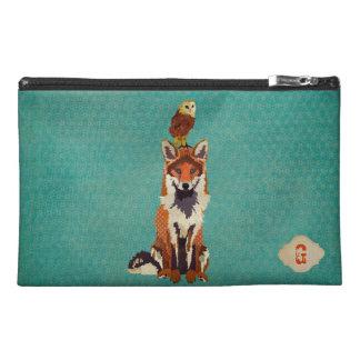 Bolso cosmético azul ambarino del Fox y del búho