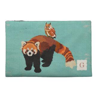 Bolso cosmético azul de la panda roja y del búho