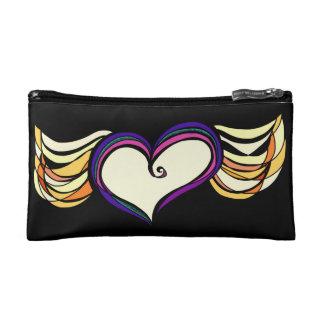 Bolso cosmético con alas del corazón (negro)