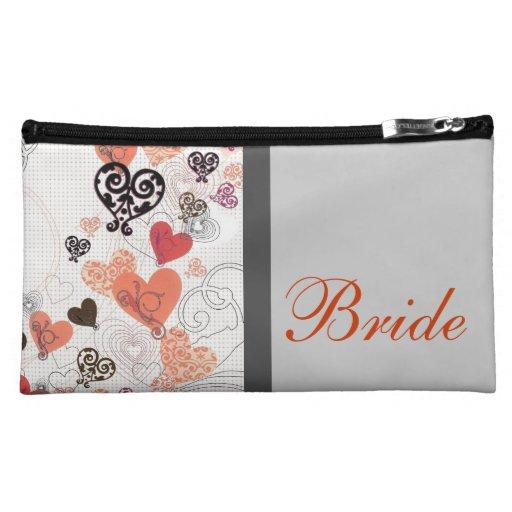 Bolso cosmético de la novia con los corazones flot