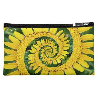 Bolso cosmético espiral floral amarillo