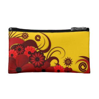 Bolso cosmético floral del hibisco tropical rojo