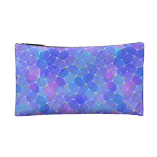 Bolso cosmético geométrico del monograma púrpura