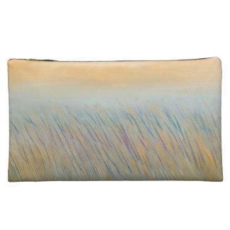 Bolso cosmético medio de Sueded del trigo de oro