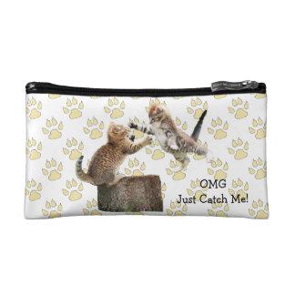 Bolso cosmético personalizado del gatito divertido