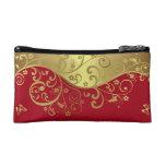 Bolso cosmético--Remolinos del rojo y del oro