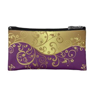 Bolso cosmético--Remolinos rojos de la violeta y d