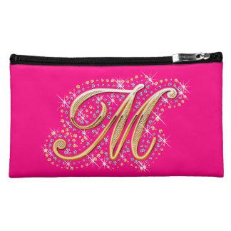 """Bolso cosmético rosado con """"M inicial ''"""