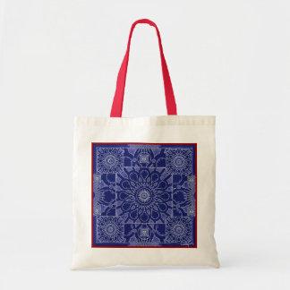 Bolso cósmico azul de medianoche de la flor bolsa lienzo