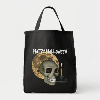 Bolso, cráneo, luna, y vela del feliz Halloween Bolsa Tela Para La Compra