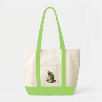 Bolso cremoso del gatito del café bolsas lienzo