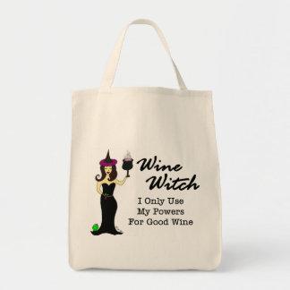 Bolso de compras de la bruja del vino