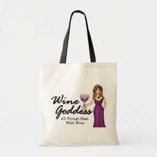 Bolso de compras de la diosa del vino bolsa tela barata