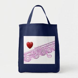 Bolso de compras de la flauta bolsas lienzo