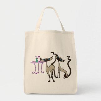 Bolso de compras de los gatos siameses