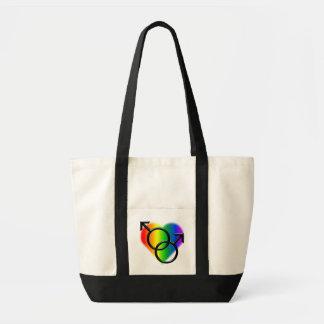 Bolso de compras del amor del arco iris de la bolsa tela impulso