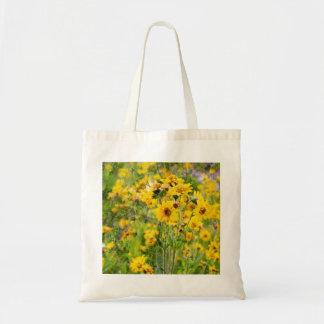 Bolso de compras del paño con las flores amarillas bolsa tela barata