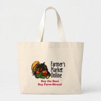 Bolso de compras en línea del mercado del granjero bolsa tela grande