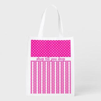 Bolso de compras: Geométrico rosado del caramelo a Bolsa Reutilizable
