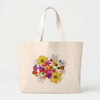 Bolso de compras mezclado del arte del ramo bolsa tela grande