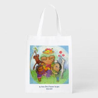 Bolso de compras reutilizable de la abuelita verde bolsa para la compra