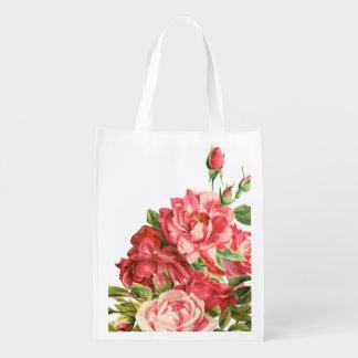 bolso de compras reutilizable floral, rosas bolsa de la compra