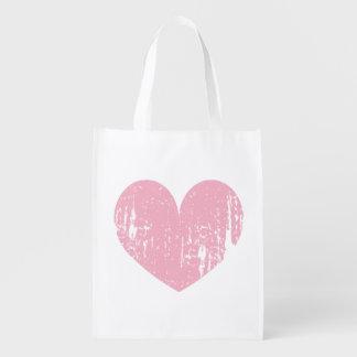 Bolso de compras reutilizable resistido rosa del bolsa reutilizable