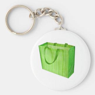 Bolso de compras reutilizable verde vacío llaveros