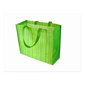 Bolso de compras reutilizable verde vacío tarjeta postal