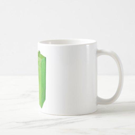 Bolso de compras reutilizable verde vacío taza de café