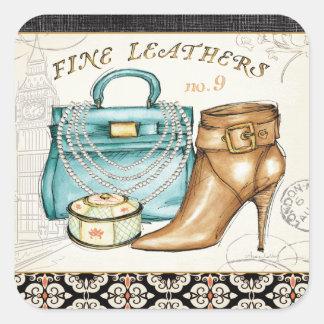 Bolso de cuero y zapato finos pegatina cuadrada