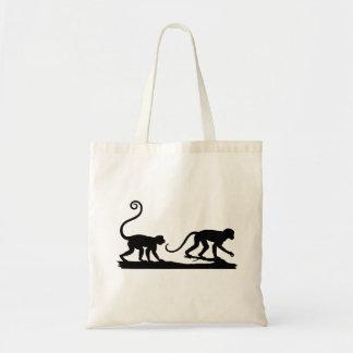 Bolso de dos siluetas de los monos bolsa tela barata
