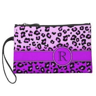 Bolso de embrague negro púrpura del monograma del