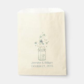 Bolso de encargo del favor del boda del tarro de bolsas de recuerdo