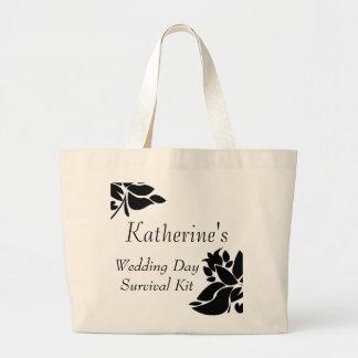 Bolso de equipo floral negro y blanco de bolsas lienzo