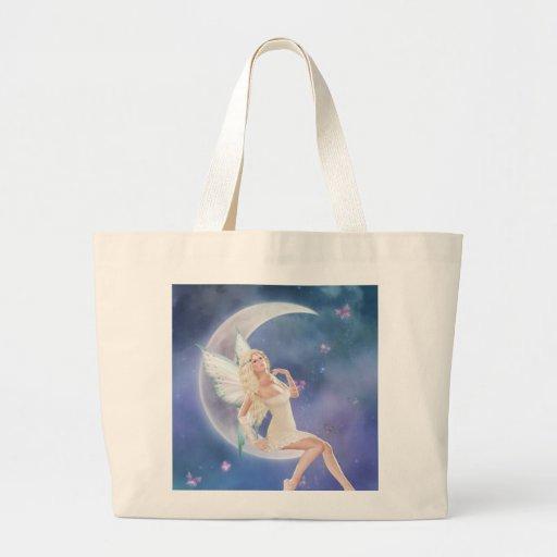 Bolso de hadas de la luna de la mariposa blanca bolsa tela grande