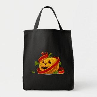 Bolso de Halloween de la cinta y de la calabaza Bolsa Tela Para La Compra