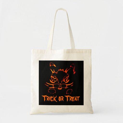 Bolso de Halloween del gato del truco o de la invi Bolsa Tela Barata