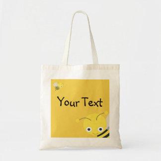 Bolso de la abeja - feliz cumpleaños, o mensaje de bolsa tela barata