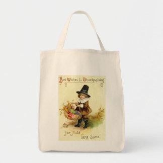 Bolso de la acción de gracias del vintage bolsas lienzo