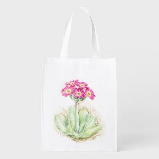 Bolso de la acuarela del arte del rosa de la bolsa reutilizable