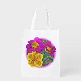Bolso de la acuarela del arte del rosa del amarill bolsa reutilizable