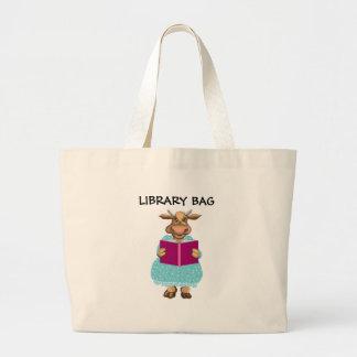 Bolso de la biblioteca bolsa tela grande