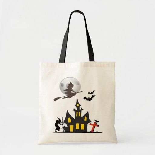 Bolso de la casa encantada de Halloween Bolsas Lienzo