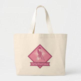 Bolso de la cinta del rosa del cáncer de pecho bolsa tela grande