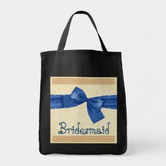 Bolso de la dama de honor - cordón azul del arco y bolsa tela para la compra